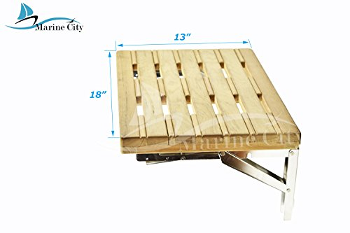Marine City Well Mount Fold Down Bench with Slats for Boat, Shower Room, Steam, Sauna Room (18 inch × 13 ()