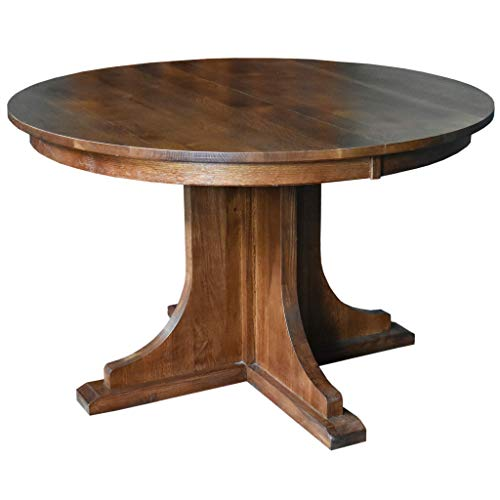 Solid Oak Round Dining Table with 2 Leaves ()