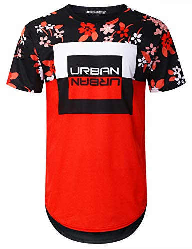 URBANCREWS Mens Hipster Hip Hop Urban Panel Floral Longline T-Shirt Black, M