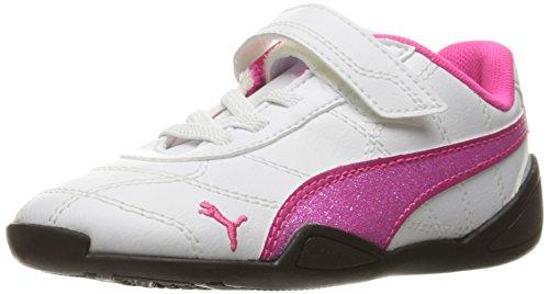 PUMA Girls' Tune Cat 3 Glitter V Inf Sneaker, White/Pink Glo, 4 M US Toddler