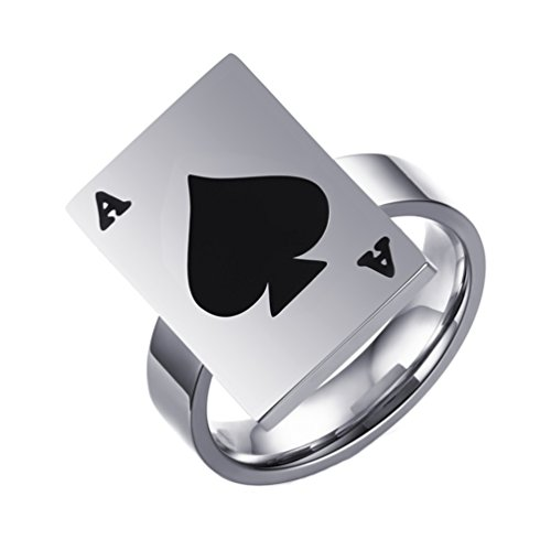 PAMTIER Lucky Men's Stainless Steel Playing cards A Design personal Ring for Punk Biker Size 9 - Playing Cards Ring