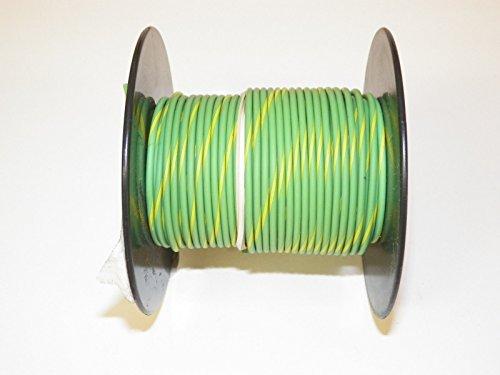 Light Green/Yellow Striped, 18 GA Gauge AWG GXL Wire, 100