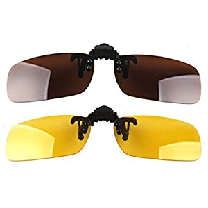 Wonderfulsight 2 Piece Day+Night Vision Polarized Clip-on Flip-up Sunglasses (A:Brown(day)+Yellow(night))