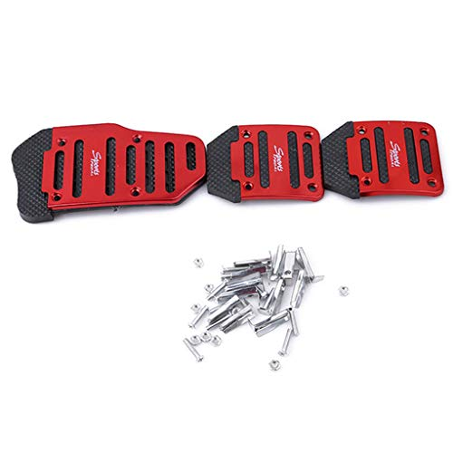 SEVENHOPE 3Pcs Non-Slip Manual Auto Car Foot Pedal Cover Brake Clutch Accelerator red
