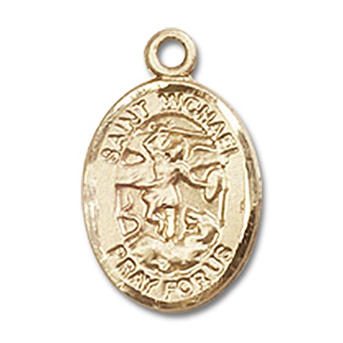 Bonyak Jewelry 14kt Yellow Gold St. Michael The Archangel Medal 1/2 x 1/4 inches
