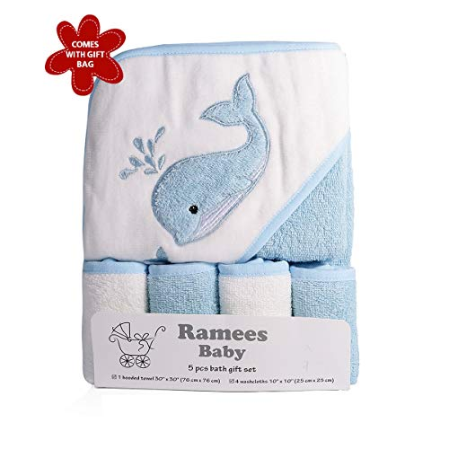 Ramees Baby Hooded Towel and Washcloths Bath Set, 5 Pack, Blue Whale