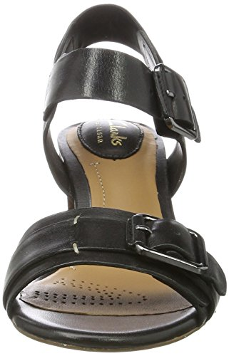 con Sandalias Black para Leather Cuña Clarks Mujer Dazzle Negro Relene pFEtZq7x