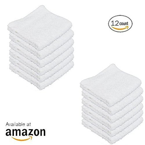 IZO.BATH - 12 Pack 12x12 Cotton Fingertip-Hand-Face Towels- 100% Extra Soft Ring Spun Washcloths, Highly Absorbent Cleaning Cloth, Brilliant White