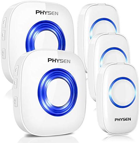 [スポンサー プロダクト]呼び出しチャイム 呼び鈴 ワイヤレス PHYSEN ワイヤレス チャイム インターホン 玄関チャイム 玄関ドアベル 呼び出しチャイムセット 52曲選択可能 4段階音量調節 受信機2個 送信機3個
