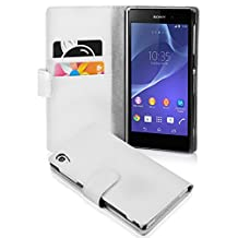 Cadorabo - Book Style Wallet Design for Sony Xperia Z2 with 2 Card Slots and Money Pouch - Etui Case Cover Protection in SNOW-WHITE