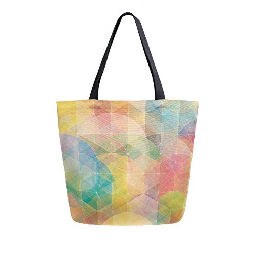 - Reusable Grocery Shopping Bag Geometric Beautiful Womens Canvas Tote Bags Foldable Shoulder Handbags