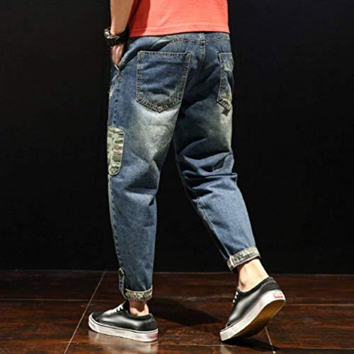 Casual Con Strappati In Uomo Jeans Stil5 Cono Slim Larghi Pantaloni Fit Denim Da qwRBRxXItP