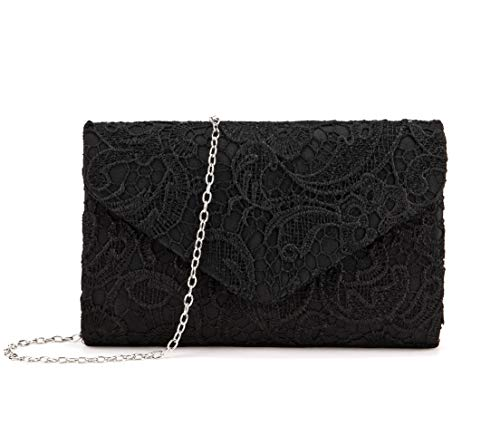 Nodykka Wedding Pleated Floral Lace Clutches Bag Evening Cross Body Handbags Purse,Black,one size