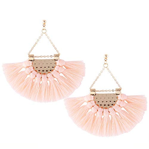 Youniker Womens Tassels Earrings Girls Bohemian Tassel Drop Vintage Retro Tassel Dangle Boho Drop Earrings Eardrop Stud for Women (Peach)