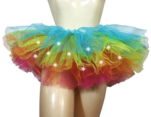[Rainbow Tutu Light Up – Adult Tutu, 5 Layers, One Size Fits All] (Light Up Costumes For Adults)