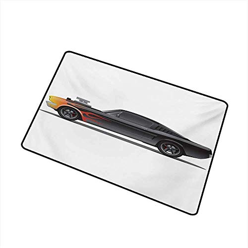 Kinhevao Cars Front Door mat Carpet Custom Design Muscle Car with Supercharger and Flames Roadster Retro Styled Machine Washable Door mat,Charcoal Grey Orange Bath Mat: Kitchen & Home