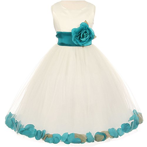 (CrunchyCucumber Big Girls Sleeveless Ivory Satin Bodice Layers Tulle Skirt Teal Flower Brooch and Petals Girl Dress - Size 8)