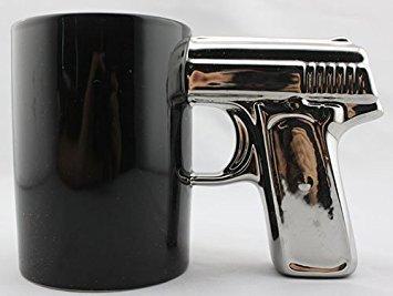 BLACK&SILVER-Pistol Cup,Gun -
