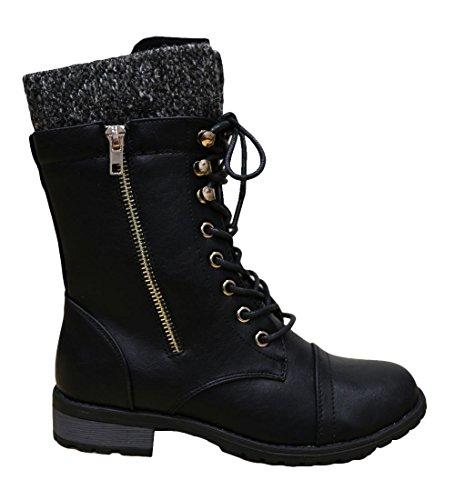 Cambridge Sélectionner Femmes Combat Militaire Bout Rond Lacets En Tricot Chandail Boot Noir Pu