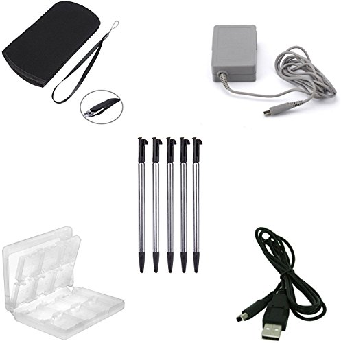 ZYJ-AWASA 5 in 1 Game Accessory kit! Travel Ac Adapter+Soft Protective Bag+ 5-Pack New 3DS XL Retractable Stylus pen+ 3DS Game Card Holder+USB Charger cable for New 3DS XL New (Metal Case Stylus)