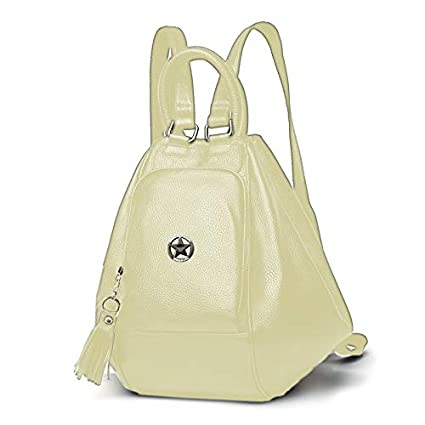 a2fe0d42f0 Buy Fab Deals Women s Synthetic Leather Backpack with USB Charging Point  and Music Aux Extension (Off-White) Online at Low Prices in India -  Amazon.in