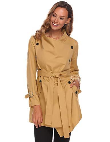 (SummerRio Women's Double-Breasted Trench Coat Jacket Overcoat Wrap Swing Coat with Belt)