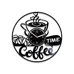 RainbowClocks Coffee Time Vinyl Record Clock Coffee Clock 12 inch Coffee Vinyl Wall Clock Coffee Gift For Man Coffee Wall Clock Vintage Coffee Gift For Her Coffee Xmas Gift Coffee Vinyl Clock