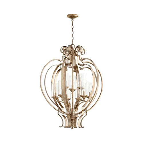 Quorum Lighting (6180-9-60) Chalon Transitional Chandelier in Aged Silver Leaf