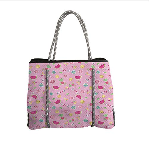 iPrint Neoprene Multipurpose Beach Bag Tote Bags,Sweet,Candies Yummy Treats Watermelon Creative Delicious Tastes Kids Design,Light Pink Magenta Mint,Women Casual Handbag Tote Bags]()