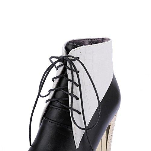 AgooLar Damen Weiches Material Rund Zehe Zweifarbig Knöchel Hohe Hoher Absatz Stiefel Schwarz