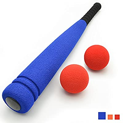 [Carry Bag Included] CELEMOON Super Safe Kids Foam Baseball Bat Toys with 2 Balls, Portable Carrying Bag Included, For Children Age 3 to 5 Years Old, Blue