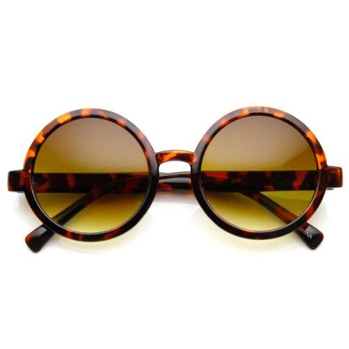 Classic Retro Style Shiny Plastic Round Circle Sunglasses (Tortoise Amber) -
