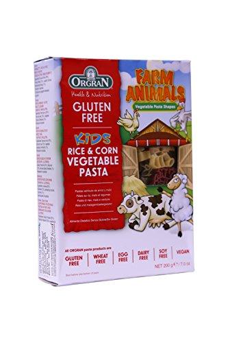 OrgraN Rice & Corn Vegetable Pasta, Multi-Color Animal Shapes, 7 Ounce (Pasta 7 Ounce Box)