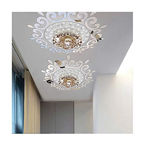 Alrens(TM)Luxury Multiparts= 1 Flower Wreath Acrylic Mirror 3D Wall Stickers Lighting Surrounding Decor Living Room Dining Room Ceiling Decor Home Decoration Removable ()