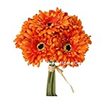Sweet-Home-Deco-13-Silk-Artificial-Gerbera-Daisy-Flower-Bunch-W-7stems-7-Flower-Heads-HomeWedding-Orange