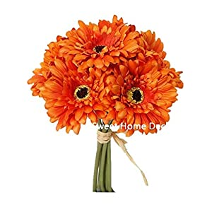 Sweet Home Deco 13'' Silk Artificial Gerbera Daisy Flower Bunch (W/ 7stems, 7 Flower Heads) Home/Wedding (Orange) 24