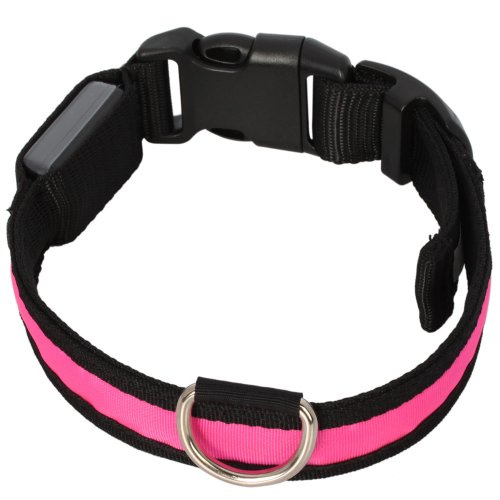 Adjustable Flashing Nylon Pet Dog Safety Collar with LED Lights Pink S Small Size (S), My Pet Supplies