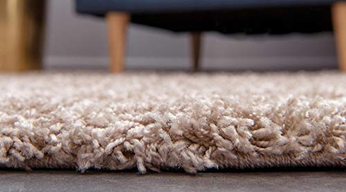 Unique Loom Solo Solid Shag Collection Modern Plush Taupe Area Rug (3' 3 x 5' 3)