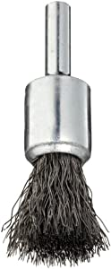 "Weiler Wire End Brush, Solid End, Round Shank, Steel, Crimped Wire, 1/2"" Diameter, 0.0104"" Wire Diameter, 1/4"" Shank, 25000 rpm (Pack of 1)"