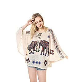 Women Boho Neck Tie Batwing Sleeve Printed Poncho Tunic Blouse Knitted top