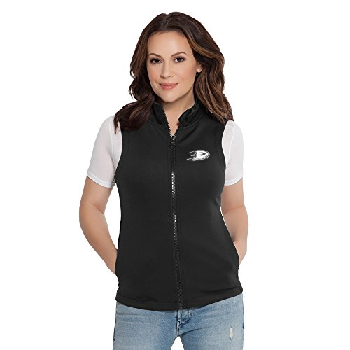 Touch by Alyssa Milano NHL Anaheim Ducks Women's Victory Vest, Black, (Black Headed Duck)