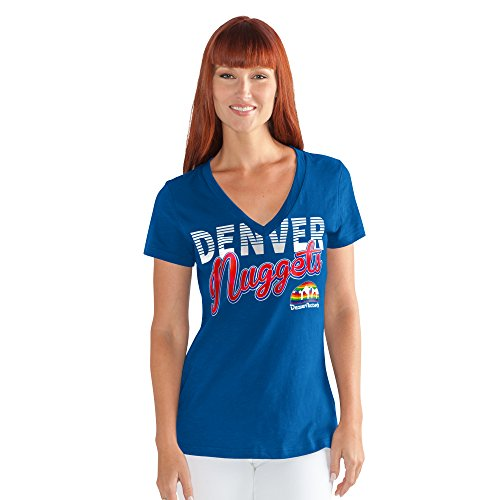 - GIII For Her NBA Denver Nuggets Women's 1St Down V-Neck Tee, X-Large, Royal