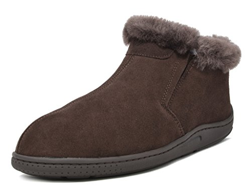 Slippers Dreams (DREAM PAIRS Men's Sole-Furry-01 Brown Sheepskin Fur Slippers Loafers Shoes Size 10 M US)