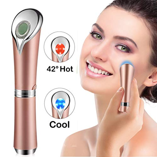 Eye Massager Wand with 42℃ Heat & Sonic Vibration for Dark Circles, Puffiness and Eye Fatigue, Anti-wrinkle, USB Rechargeable Facial Massager Skin Care Device, Rose Gold