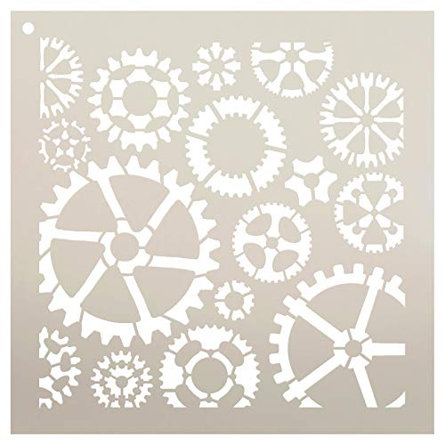 "Industrial Gears Stencil by StudioR12 | Reusable Mylar Template | Use to Paint Wood Signs - Pallets - Pillows - DIY Steampunk Decor - Select Size (6"" x 6"")"