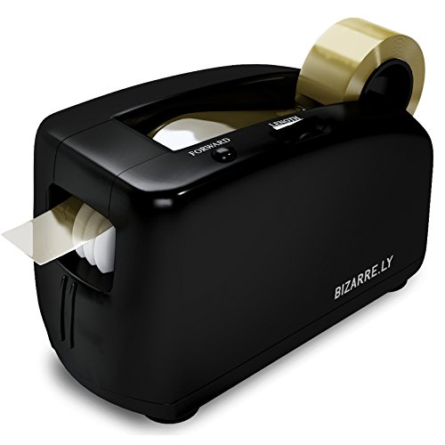 Acrylic Designer Tape Dispenser (Automatic Electric Tape Dispenser by Bizarre.ly - Professional Heavy Duty Office Tape Dispenser with 1 Inch Core - Quiet, Compact and Portable - Includes Free Tape Roll and Warranty)