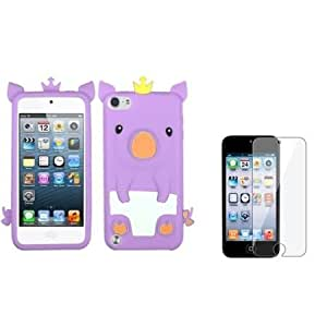 Bloutina eForCity Purple Pig Piggy Silicone Rubber Case + Screen Protector Compatible with iPod? Touch 5 5th 5G