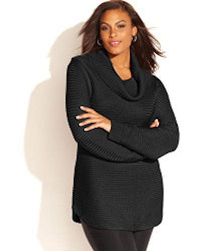Calvin Klein's Women Ribbed Knit Sweater Plus Size Ox Black