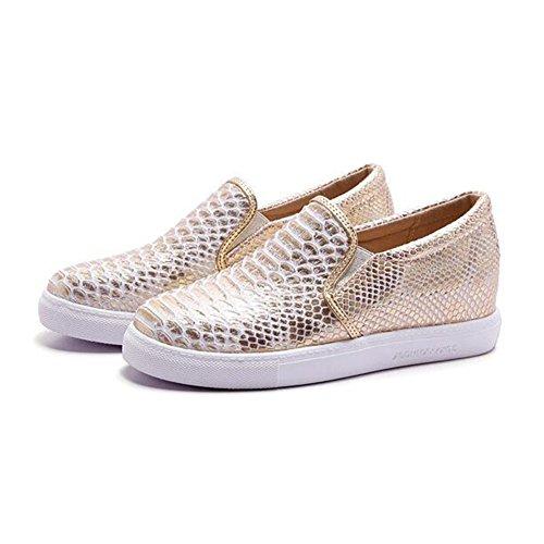 Summerwhisper Femmes Mode Élastique Bout Rond Faible Haut Slip Sur Mocassins Plate-forme Appartements Chaussures Baskets Or