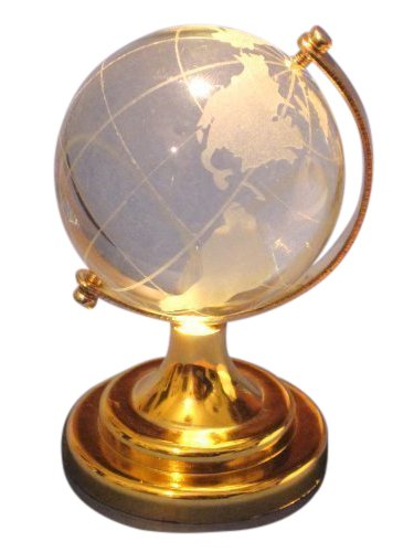 2.5 New Crystal Glass Miniature World Globe Ornament / Gift by ()